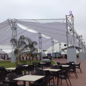 Outdoor cafeteria area at the COP20 conference center